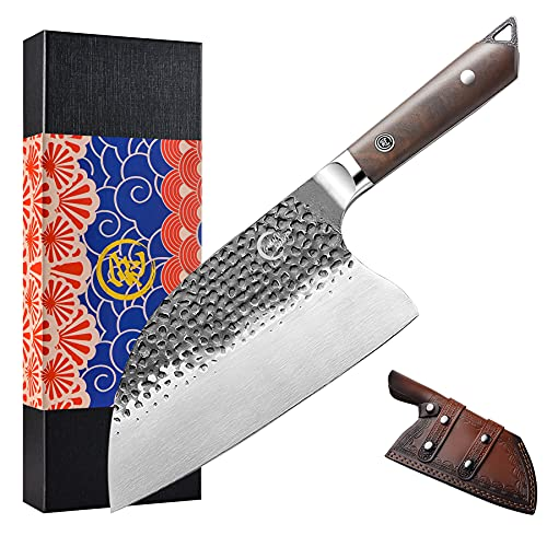 """[Full Tang]Butcher Knife Handmade Forged Kitchen 8"""" Chef Knife Grandsharp Pro Razor Sharp Serbian Clad High Carbon Steel Vegetable Chopping Cutting Meat Cleaver with Leather Sheath-Ebony Wood Handle"""