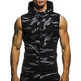 Lazzgirl Herren Sommer Casual Camouflage Print Mit Kapuze Ärmelloses T-Shirt Top Weste Bluse(Navy, Weiß, Schwarz)(M/L/XL/XXL)