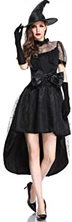 Women's Classic Bewitching Witch with Hat Halloween Costume Women's Incantation Glamour Witch Costume Cosplay Clothes Stag...