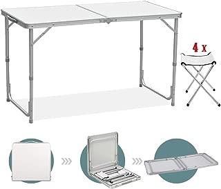 Sunreal Mesa de Camping Plegable de 122 cm, Altura Ajustable