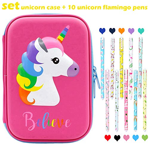 Unicorn Pencil Case Pen Set Large Capacity Pen Holder Stationery Box With Compartments + 10 Pcs Unicorn Flamingo Color Gel Pens - Unicorn Gift School Supplies for Girls Kids (Hot Pink)