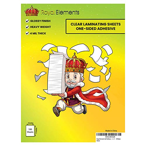 Royal Elements Waterproof Clear Vinyl Laminating Sheets for Stickers (Laminating Sheets 100 Pack)