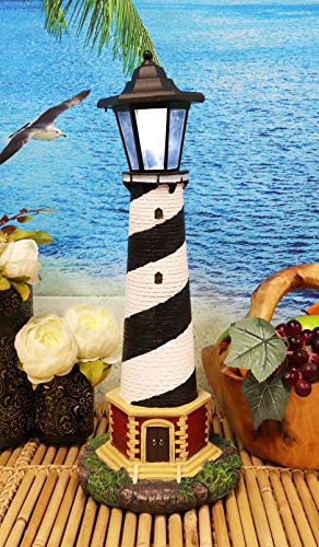 Nautical Scenic Outdoor Lighthouse Statue with Solar Powered Lantern LED Light Patio Decor