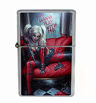 Customized Collectables Harley Quinn Wanna Play with Me Flip Top Oil Cigarette Lighter