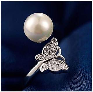 lem Abrillantador de anillosS925 Anillo Abierto de Plata Natural de la Perla de la Mariposa de Agua Dulce