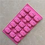 15 Cavities Hello Kitty G134 - Stampo in silicone per torte e muffin, fatto a mano, per biscotti, cioccolato, cubetti di ghiaccio