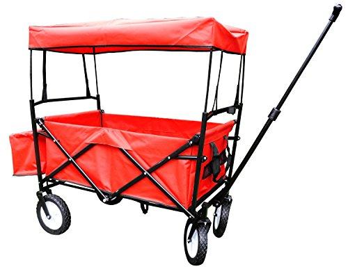 Bieco 22000116 Klappbarer Bollerwagen mit Dach und Regenschutz, rot, ca. 110 x 50 x 92 cm, bis 75 kg