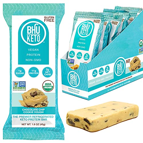 BHU Keto Bars - 2g Net Carbs, 1g Sugar - Organic Refrigerated Snacks made with Clean, Gluten Free Ingredients - 8 pack (Chocolate Chip Cookie Dough)