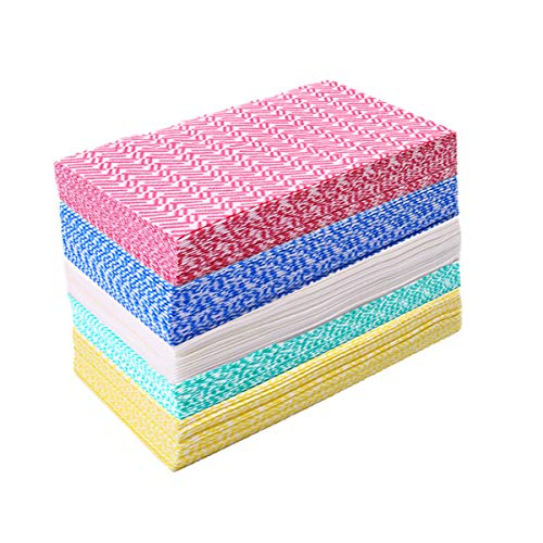 JEBBLAS Cleaning Towels Dish Towels and Dish Cloths Reusable Towels,Handy Cleaning Wipes, Great Dish Towel, Disposable, Absorbent, Dry Quickly 60 Sheets/Pack,5 Color