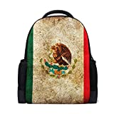 Student Backpacks College School Book Bag Travel Hiking Camping Daypack for Boy for Girl   16.1'x11'x6'   Holds 15.4-Inch Laptop(Retro Mexican Flag)