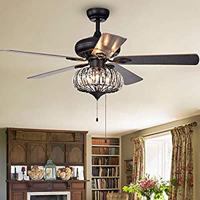 BIGBANBAN Crystal Industrial Ceiling Fans Light LED 3-Lights Chandelier Fan Pull Chain 3-Speed Iron Cage Ceiling Fan with 5 Reversible Wood blade for Dining Room 52 Inch (Bronze + Black)