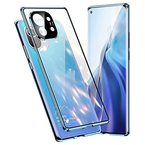 Funda para Xiaomi Mi 11 5G Magnética Teléfono Móvil, 360 Grados Protección Completa [con Lente de Cámara Protección] Marco Metal Delantero y Trasero Vidrio Templado Funda Resistente a Golpes Azul