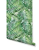 Temporary Self Adhesive Removable Wallpaper with Watercolor Green Tropical Palm Leaves, Great for...