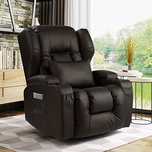 IPKIG Swivel Rocker Recliner Chair- Ergonomic Glider Chair Rocking Swivel Reclining Sofa for Nursery, PU Leather Lounge with Lumbar Pillow, Cup Holder, Side & Front Pockets for Living Room(Brown)
