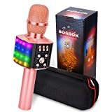 BONAOK Wireless Bluetooth Karaoke Microphone with controllable LED Lights, 4 in 1 Portable