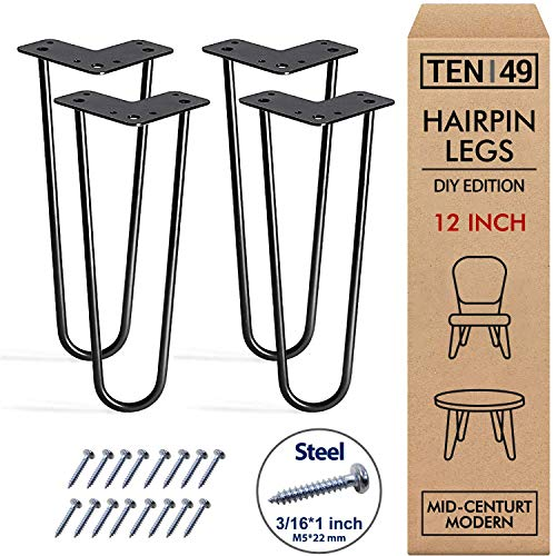 TEN49 Heavy Duty 12\u0026quot; Hairpin Legs - Set of 4 Satin Black - Industrial Strength - Home DIY Projects - Mid-Century Modern Steel Leg for Furniture (Beds \u0026amp; Cabinets, Sofa, Coffee Tables, TV Stands)