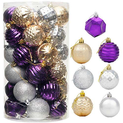 """CHICHIC 41ct 2.36"""" Christmas Ornaments for Christmas Tree Decorations Christmas Tree Ornament Sets Shatterproof Christmas Balls Bulb Ball Ornaments Christmas Party Decorations 2020, Purple Gold Silver"""