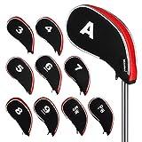 Andux nuevo diseño funda de palo de golf hierros con cremallera 10pcs/set MT/YB02 Negro/rojo