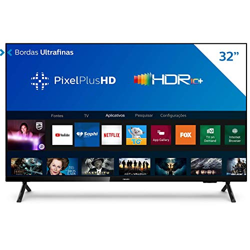 "Smart TV Philips 32PHG6825/78-32"" HD sem bordas, HDR Plus, 3 HDMI, 2 USB, Wifi Miracast, Conversor digital, Netflix, Youtube, Globoplay e Prime Video"