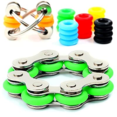 Stress Reducer - Roller Chain Stress Reducer Fidget Toys Set for Sensory Kids & Adults - Flippy Chain Toy with 6 Customizable Colors Included - Anxiety Fidget Toys / ADHD Fidget Toys from Serar Stress Reducer