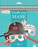 Avenue Mandarine GY022O Malbuch Graffy pop mit vorgestanzten Masken zum Ausmalen, 250g Zeichenpapier gedruckt, 24 Blatt, 12 verschiedene Motive x 2, geeignet für Kinder ab 5 Jahren, 1 Stück, Blau