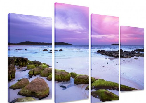Immagine–multi split pannello canvas Artwork Art–Sea Ocean Sunset Beach Sunrise Rocks Sky rosa e viola–Art Depot Outlet–4pannelli–101cm x 71cm (101,6x 71,1cm)