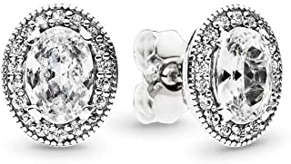 PANDORA Jewlery - Oval Sparkle Halo Stud and Hoop Earrings for Women in Sterling Silver with Clear Cubic Zirconia