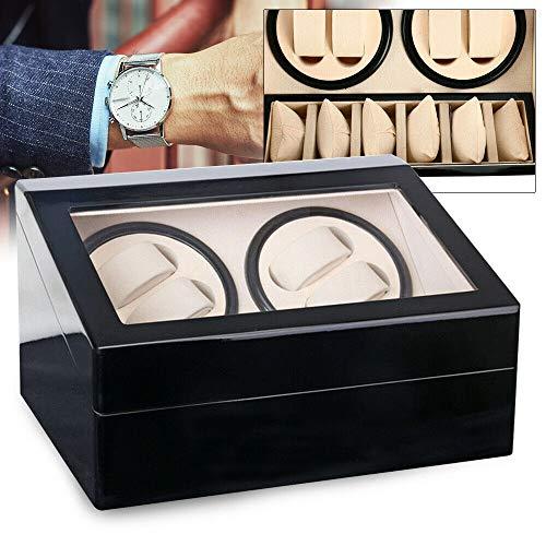 WUPYI2018 Luxus Holz Uhrenbeweger watchwinder Kubus 4+6 Uhren Automatisch Box Schwarz Automatikuhren Beweger
