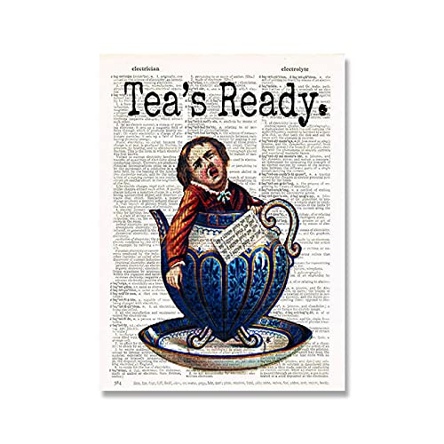 Aawerzhonda Modern colour posters Funny Weird Boy Tea Cup Canvas Poster Vintage Dictionary Page Wall Art Tea Party Girl Pictures 60x90cm
