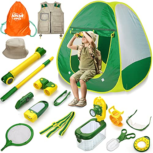 Forty4 Kids Explorer Kit, Bug Catcher for Kids, Butterfly Nets for Boys n Girls, Insect Catching Gear w/Binoculars, Magnifying Glass, Compass, Bug Tongs, Safari Vest & Hat and Camping Tent