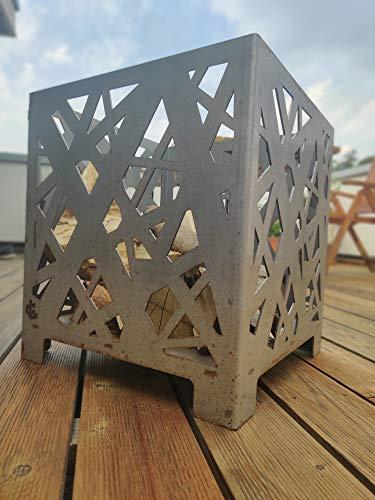 Steelbutze | Design Feuerkorb Cube Confused | Aus Metall rostend 50x45x45cm | Formstabil 3mm dick | Für Garten & Terrasse