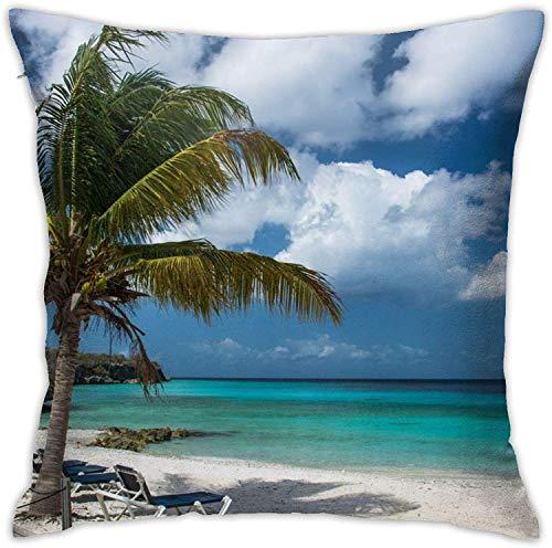 Fodere per cuscini Palma e sedie a sdraio sulla spiaggia Federa quadrata 18 * 18 pollici Federa per divano e cuscino per letto