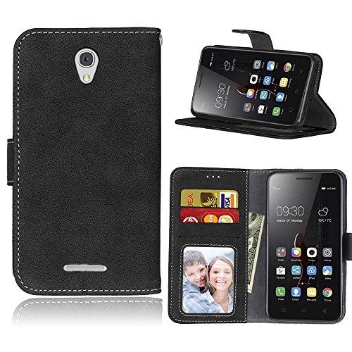 FUBAODA für Lenovo A5000 Tasche Schwarz, [Hautfre&lich][Wildleder] Leder Hülle, Flip Leder Money Brieftasche, Hülle für Lenovo A5000 (schwarz)