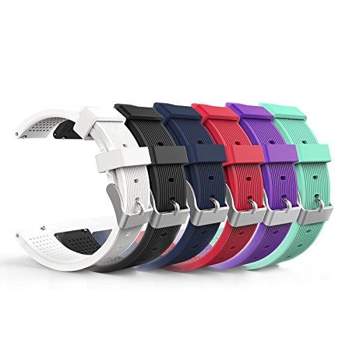 MoKo Gear S2 Classic Correa del Reloj, [6 Packs] Reemplazo Silicona Deportiva WatchBand para Vivoactive 3/Galaxy Watch 42mm/Galaxy Watch Active/Gear S2 Classic SM-R732/R735/Ticwatch 2, Multicolor