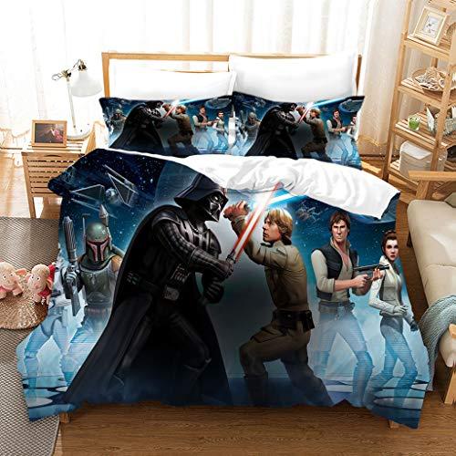 DDONVG Star Wars Duvet Cover 135 x 200 cm, 100% Polyester 3D Printed Duvet Cover and Pillowcase (D,220 x 240 cm)