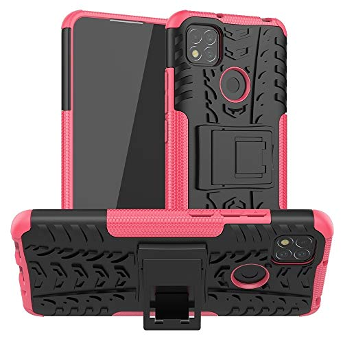 BAIYUNLONG Funda Protectora, for xiaomi redmi 9c neumático Textura a Prueba de Golpes TPU + PC Funda Protectora con Titular (Color : Rose Red)