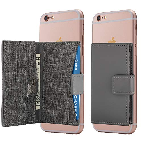 Cell Phone Wallet Stick on Card Holder Phone Pocket for iPhone, Android and All Smartphones (Charcoal Grey)