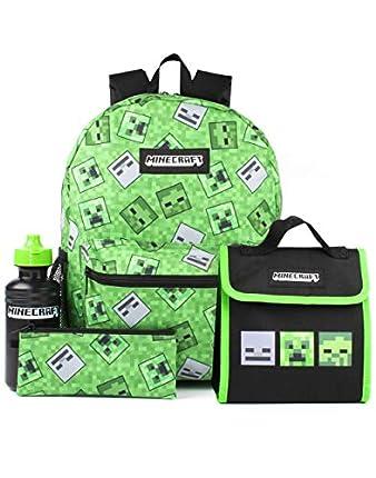 Minecraft Mochila enredadera de 4 piezas de Niños Escuela Verde Mochila Set