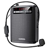 Judiferty Voice Amplifier-Portable Audio System with Wired Microphone and Waistband for Tour Guides, Presentations – Loud and Clear Sound Amplifier Bluetooth Voice Amplifier and Recorder - Black