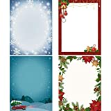 60 Pieces Christmas Stationery Paper Holiday Stationery Sheets Christmas Letterhead Paper for Writing Poems Lyrics Letters Office School, 8.5 x 11 Inch, 4 Designs