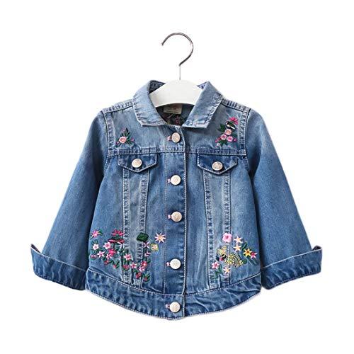 PanpanBox Jeansjacke Mädchen Blumen Stickerei Kinder Denim Jacke Retro Outwear Casual Reverskragen Baby Kurz Coat 1-8 Jahre (130# / 7-8 Jahre)