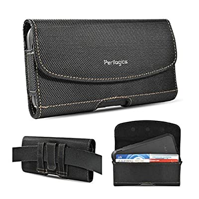Nylon Belt Holster for iPhone 11, 11 Pro Max, Xs Max, XR, 8 Plus with Rugged Case. Durable Nylon with Chestnut Stitching. Strong Magnetic Closure and Reinforced Belt Loops. (Fits Rugged Case)