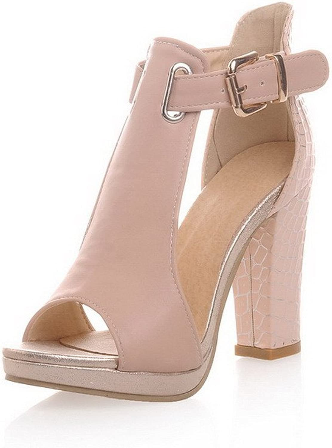 WeenFashion Women's Buckle High Heels Pu Solid Open Toe Sandals