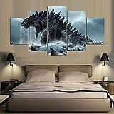 ANYIR Leinwanddrucke Wandkunst 5 Panel Godzilla Leinwand