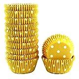 Xlloest Mini pirottini di carta per cupcake, a pois, per muffin, 300 pezzi (giallo)
