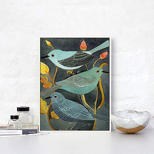 Frameloze schilderij Dierlijke vogel nachtegaal vintage canvas decoratie creatieve kunst poster kunst wanddecoratieAY5697 50X75cm