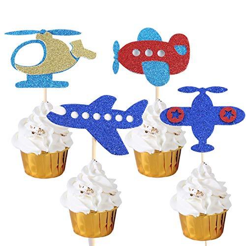 Cupcake-Topper in Flugzeug-Form, für Babyparty, Kindergeburtstag, Partyzubehör, Dekoration, glitzernde Flugzeug-Essenspieße für Flugzeug-Mottoparty, Babyparty, Zahnstocher