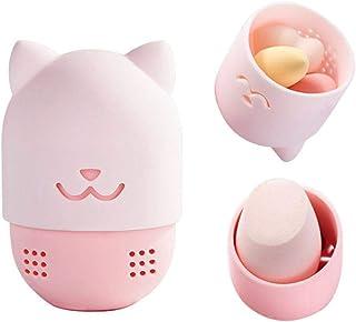 Makeup Sponge Travel Case, Silicone Beauty Egg Storage Carrying Case - Cute Beauty Egg Puff Blender Holder Drying Rack for Foundation Blending Sponge Storage (Pink Cat)