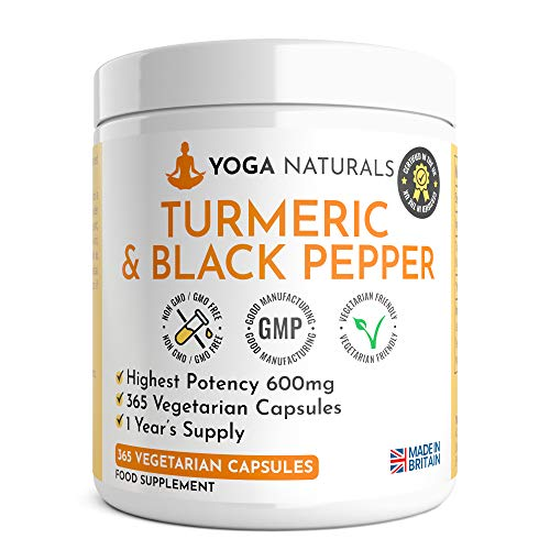 365 Turmeric Capsules 1 Year Supply High Strength Turmeric Capsules with Black Pepper Turmeric Tablets 365 Vegetarian Capsules Turmeric Curcumin One A Day Turmeric Supplement Curcumin