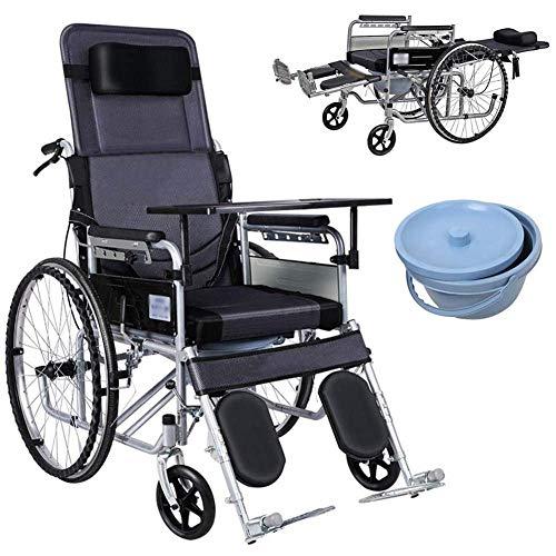 YXB Rollstuhl mit verstellbarer Rückenlehne, superleicht, Aluminiumrahmen, zusammenklappbar, manuell selbstfahrend, mit 61 cm (24 Zoll) großen Sporträdern und 46 cm Sitz